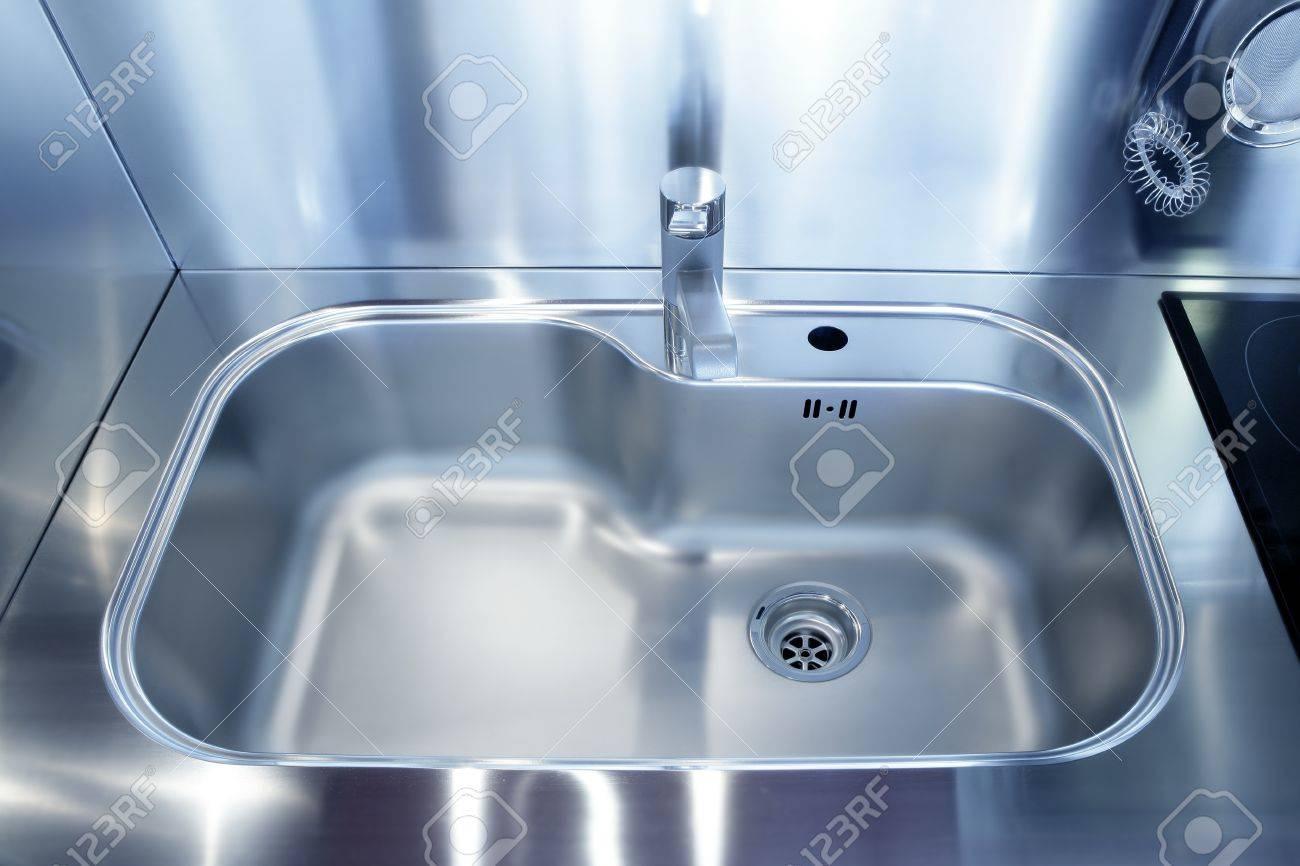 kitchen silver sink modern decoration house stainless steel stock
