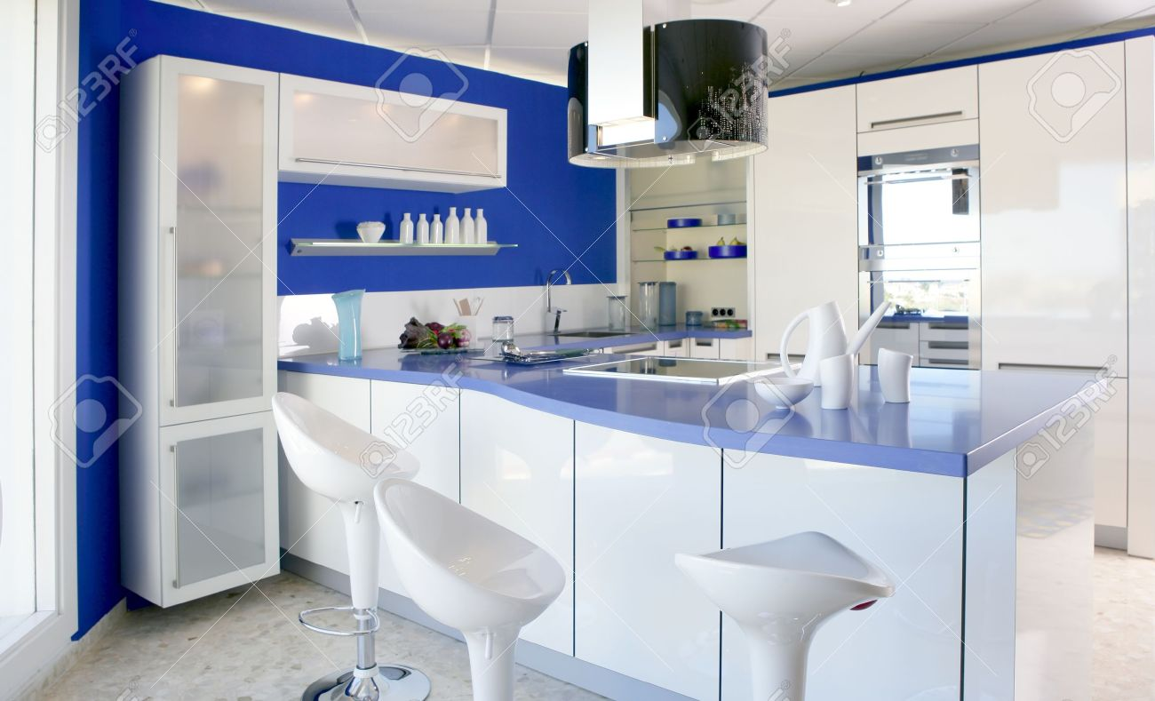 stock photo blue white kitchen modern interior design house architecture