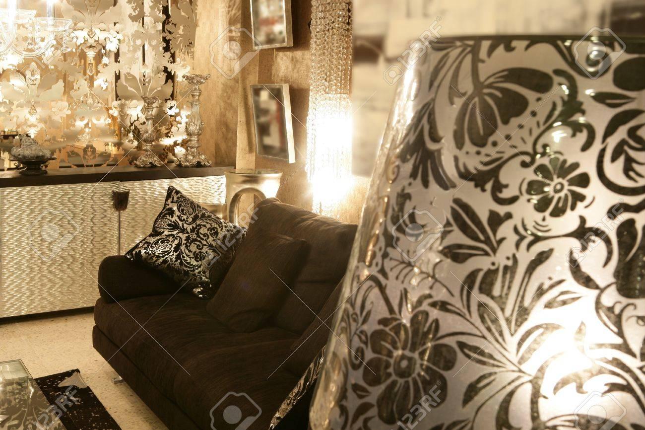 Living Room Coach Black Sofa Silver Furniture Background Stock ...