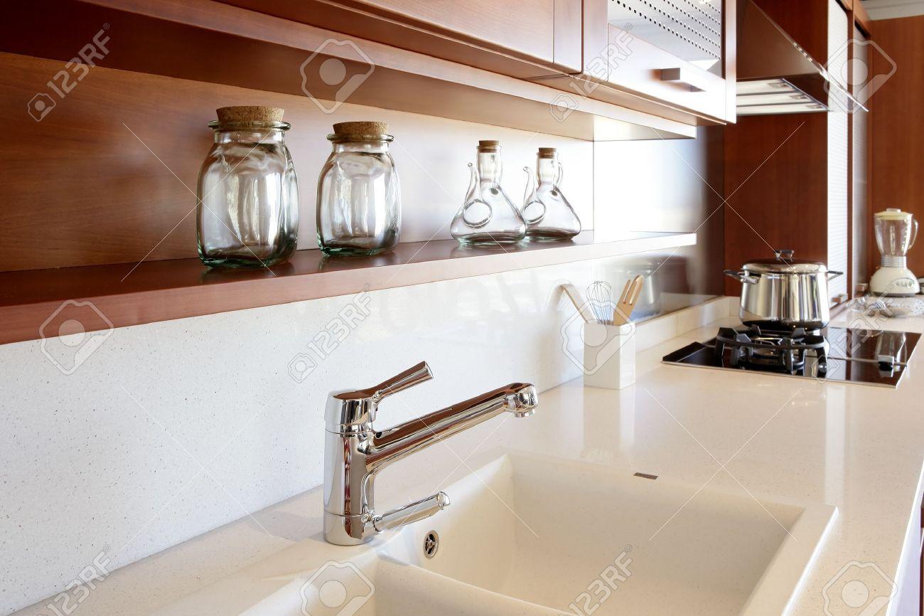Red wood kitchen white kitchen bench modern interior decoration