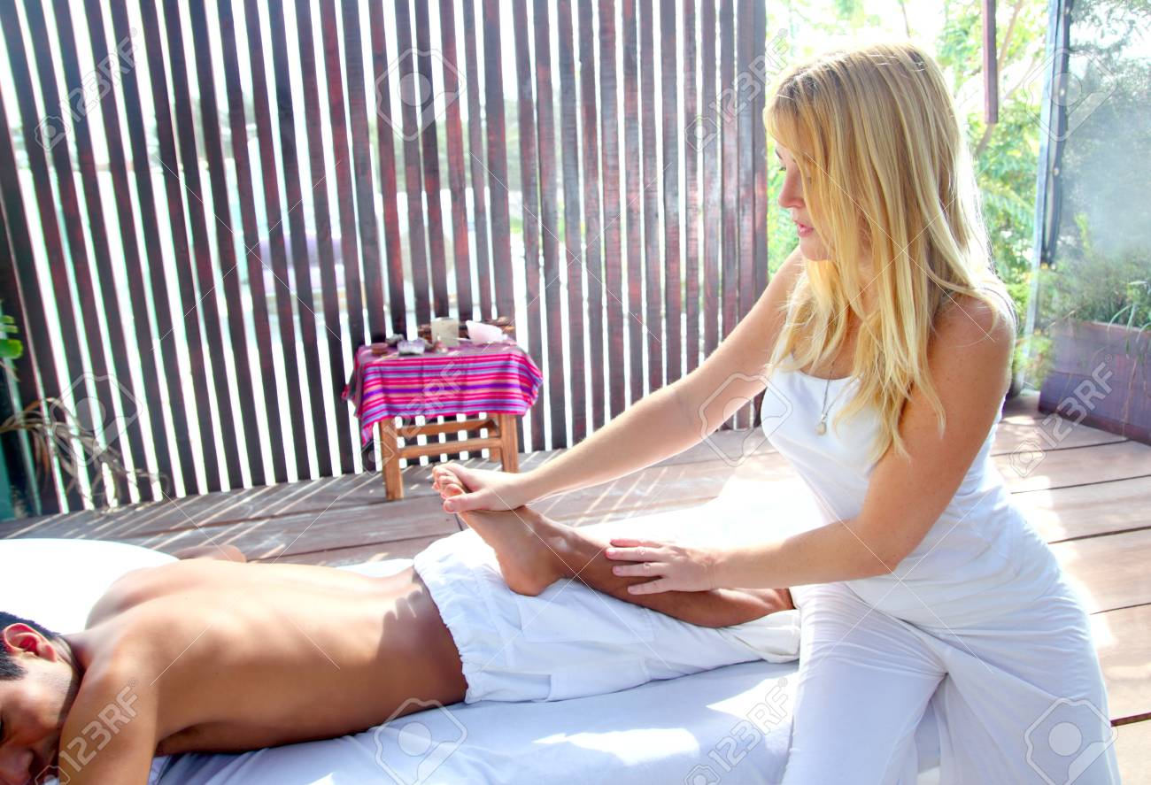 reflexology massage stretch therapy physiotherapy in jungle cabin Stock Photo - 9128958