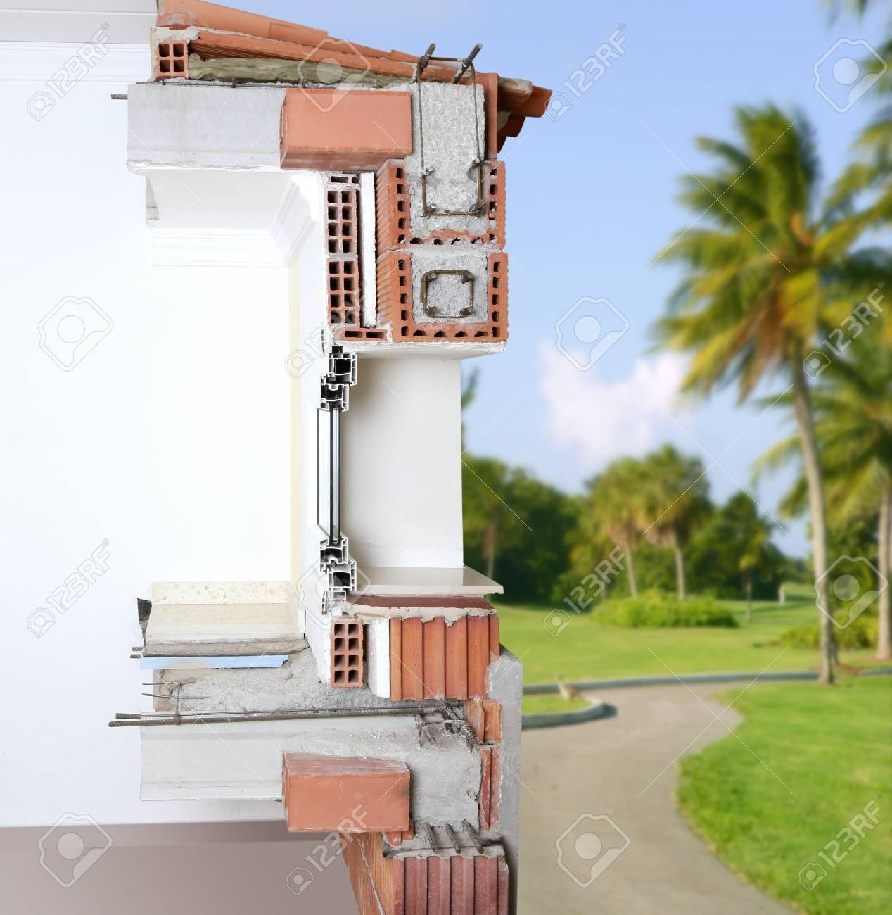 Sección Muro De Fachada De Ladrillo Bloques Ventana Estructura Techo ...