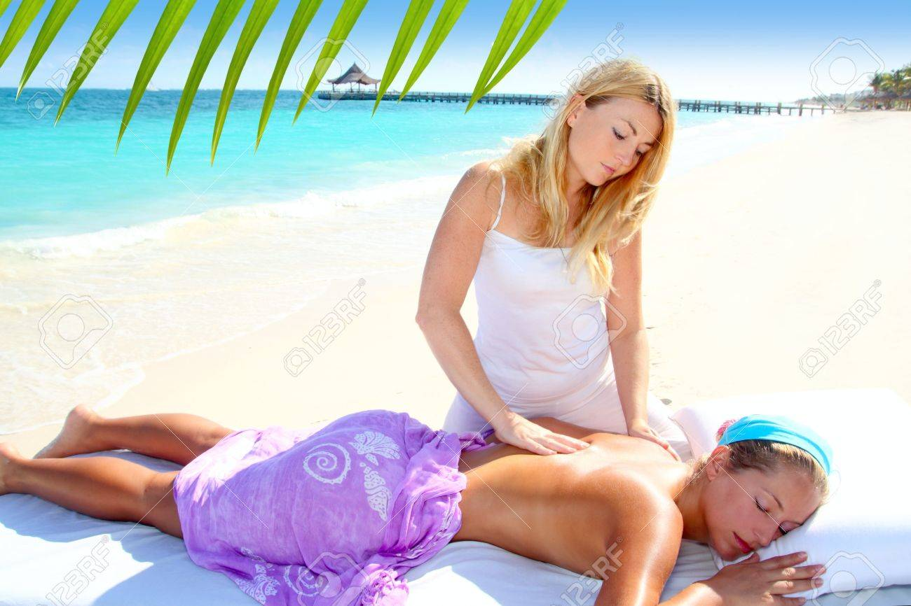 Caribbean turquoise beach chiropractic massage therapy woman Stock Photo - 9226870