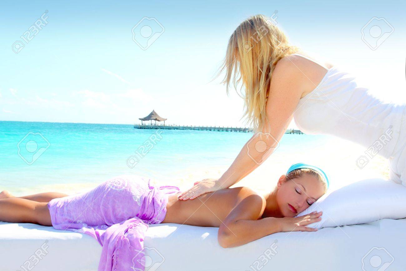 Caribbean turquoise beach chiropractic massage therapy woman Stock Photo - 9410575