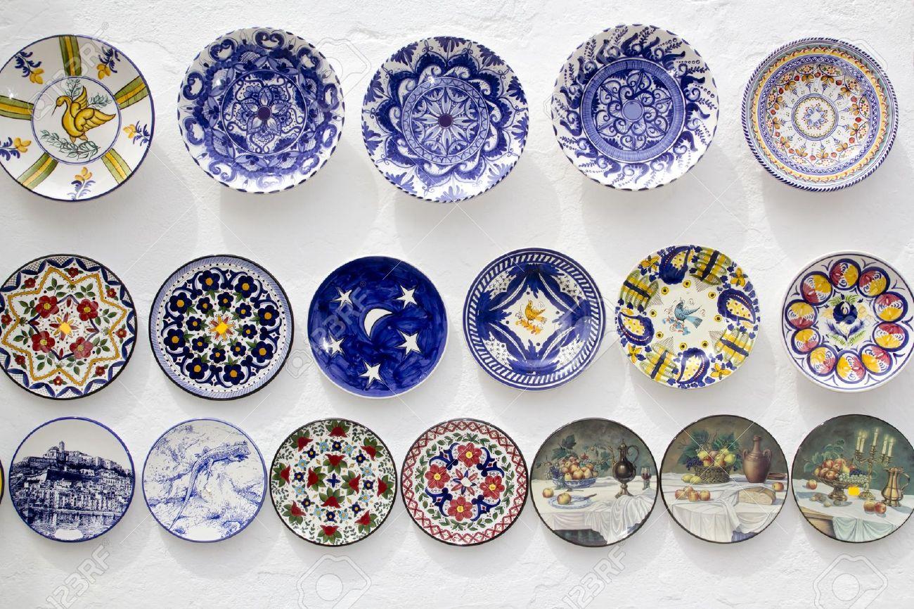 White ceramic plates for crafts - Stock Photo Ceramic Plates Decorated Hand Painted Crafts Mediterranean Ibiza