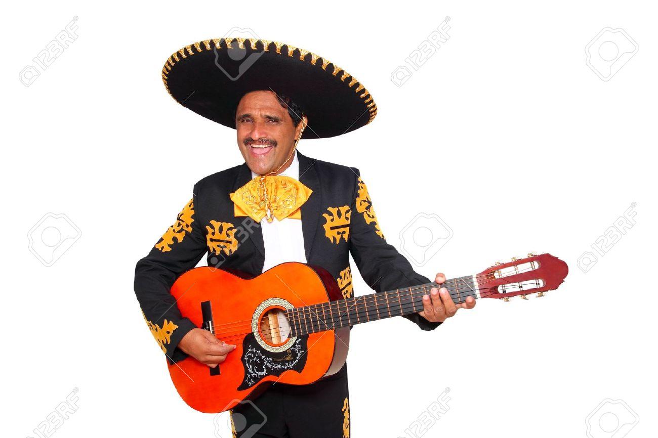 Charro mexicano Mariachi tocando la guitarra aislado en blanco Foto de archivo - 9705873