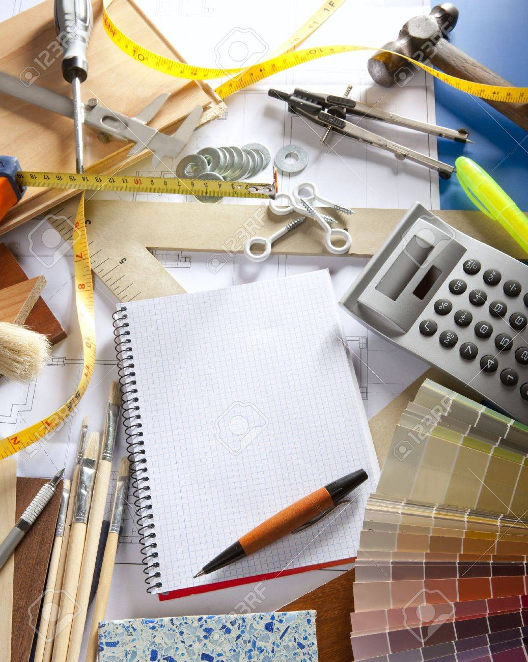 Architect Or Interior Designer Workplace Desk With Spiral Notebook Blank  Copy Space Stock Photo   9941607
