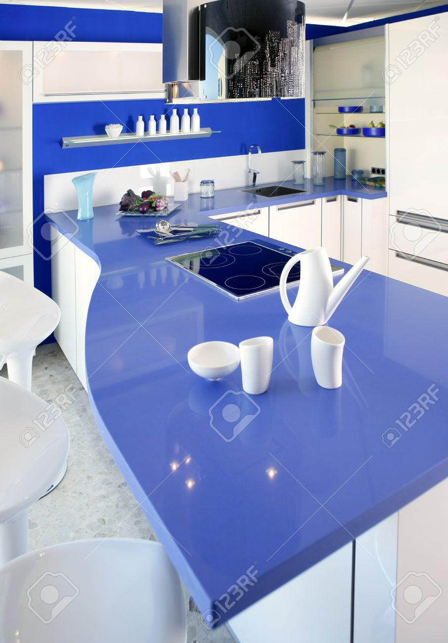 Blue white kitchen modern interior design house architecture Stock Photo - 9941880