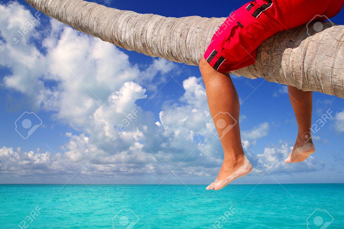 Karibik Geneigt Palmenstrand Mit Mannlichen Touristen Beinen Sitzen