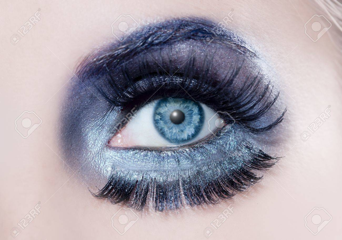 Blue Eyes Macro With A Winter Inspired Silver Black Makeup Some