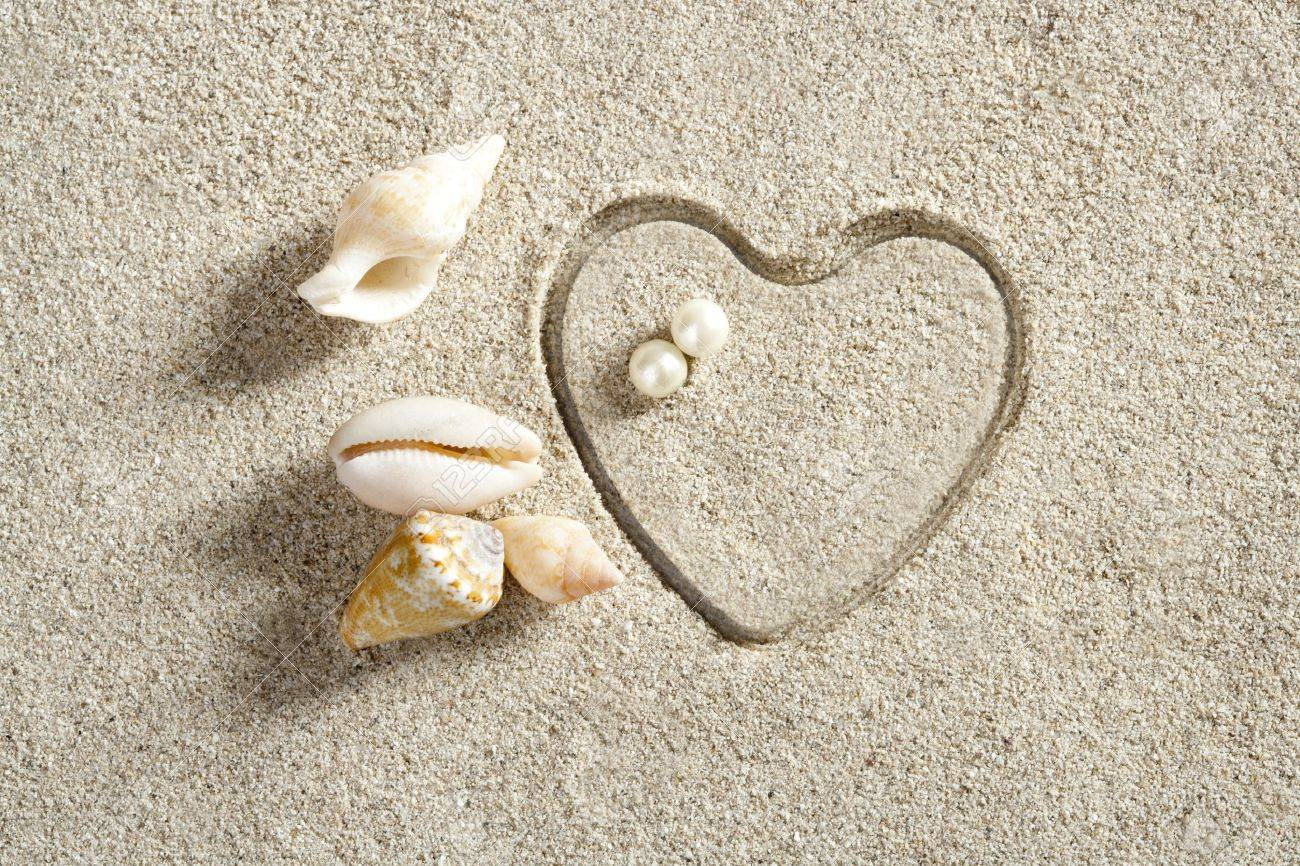 beach white sand with heart shape printed such a summer vacation concept still life Stock Photo - 10048820