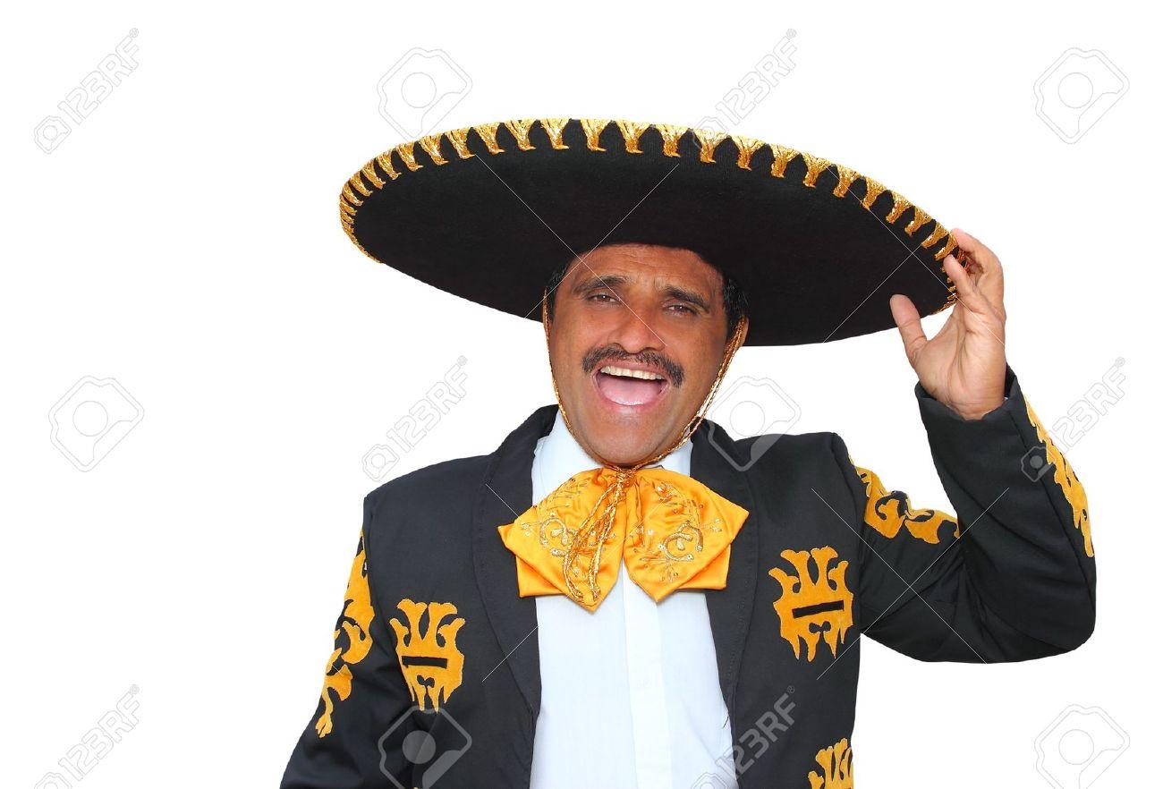 Gritos de retrato de hombre charro mariachi aislados en blanco Foto de archivo - 10048795