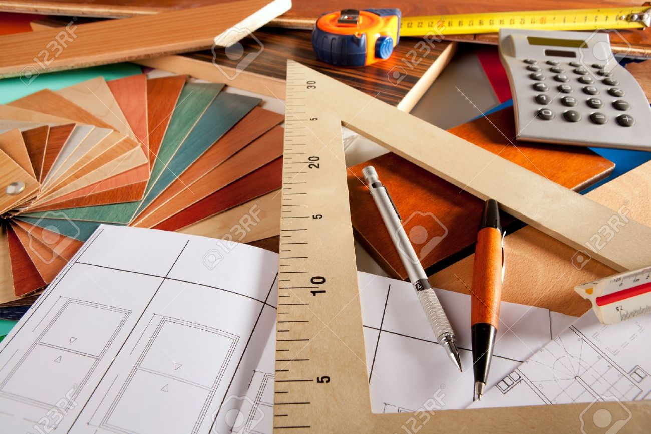 Architect interior designer or carpenter workplace with desk design tools  Stock Photo - 10214488