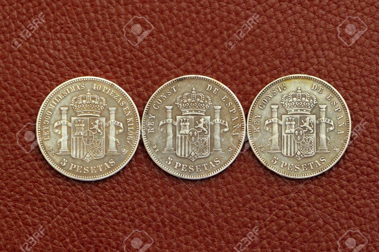 Fünf Peseten Spanien Alten Münzen Alfonso Xii Carlos Iii Ioseph