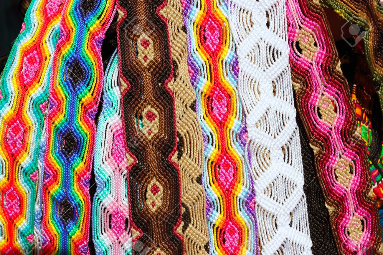 Chiapas Mexico colorful handcrafts belts and bracelets Stock Photo - 10489696