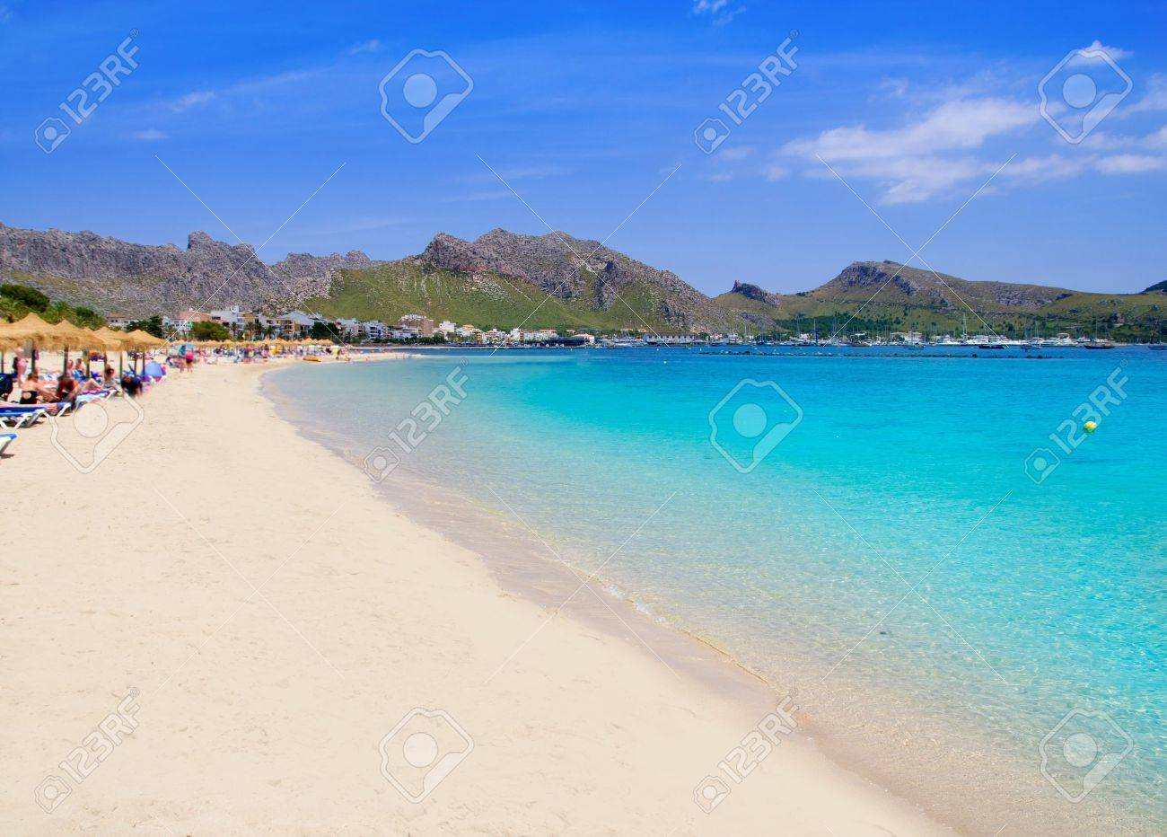 Pollensa Port sand beach in Mediterranean Mallorca island at Balearic Spain Stock Photo - 10638194