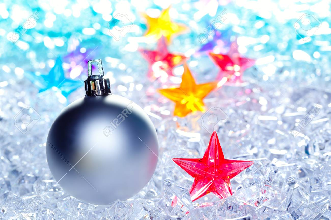 christmas baubles silver on winter ice with star symbol shapes Stock Photo - 10743103