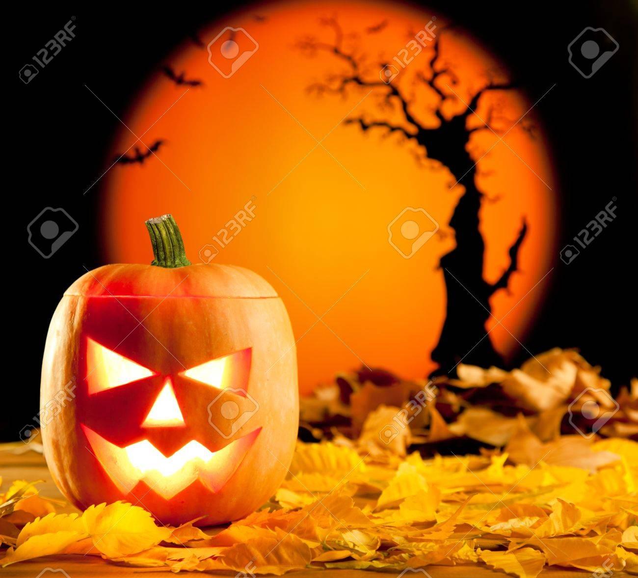 Halloween orange pumpkin lantern with autumn leaves Stock Photo - 10838063