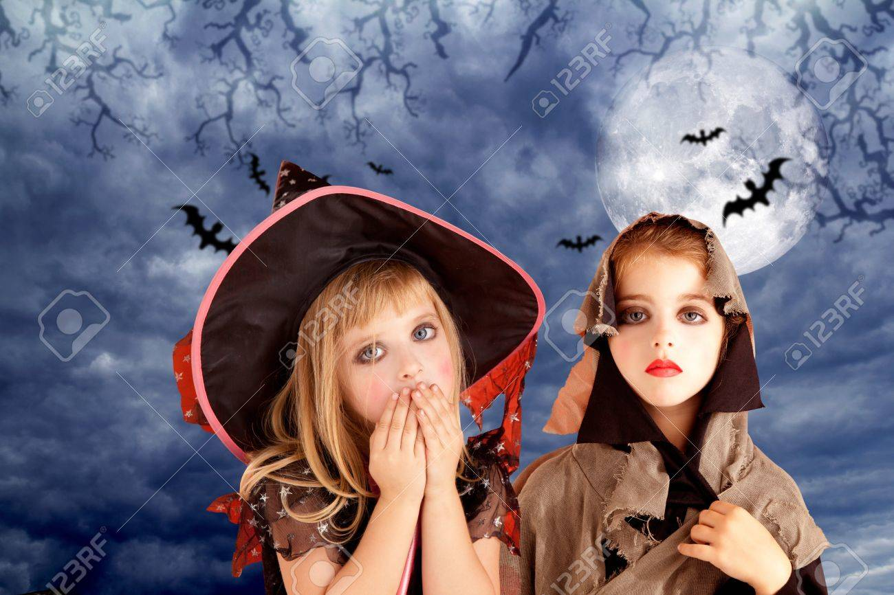 Kids at night with moon royalty free stock photography image - Halloween Costumes Kid Girls On Moon Night Sky With Bats Stock Photo 10838220