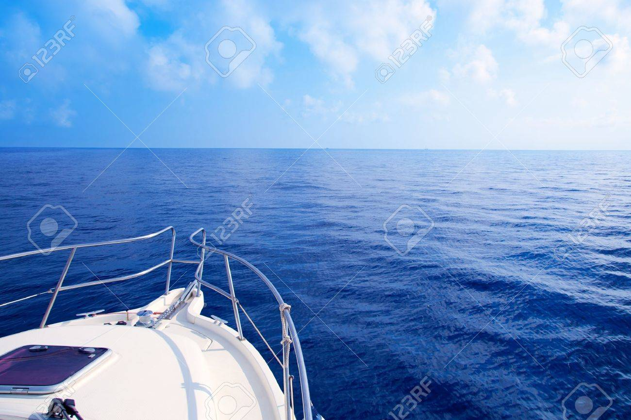 Boat bow sailing in blue Mediterranean sea in summer vacation Stock Photo - 10839475