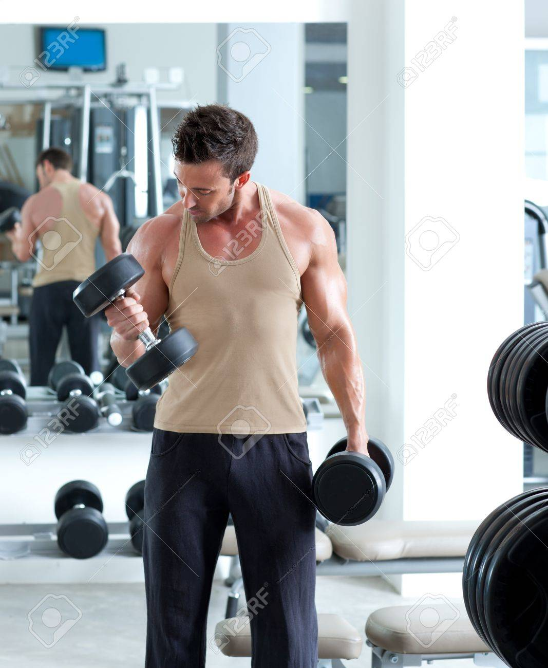 man with weight training equipment on sport gym club Stock Photo - 11982049