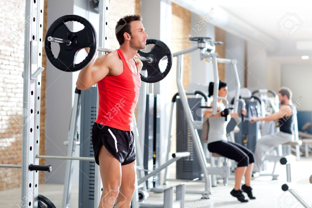 group with dumbbell weight training equipment on sport gym Stock Photo - 11982239