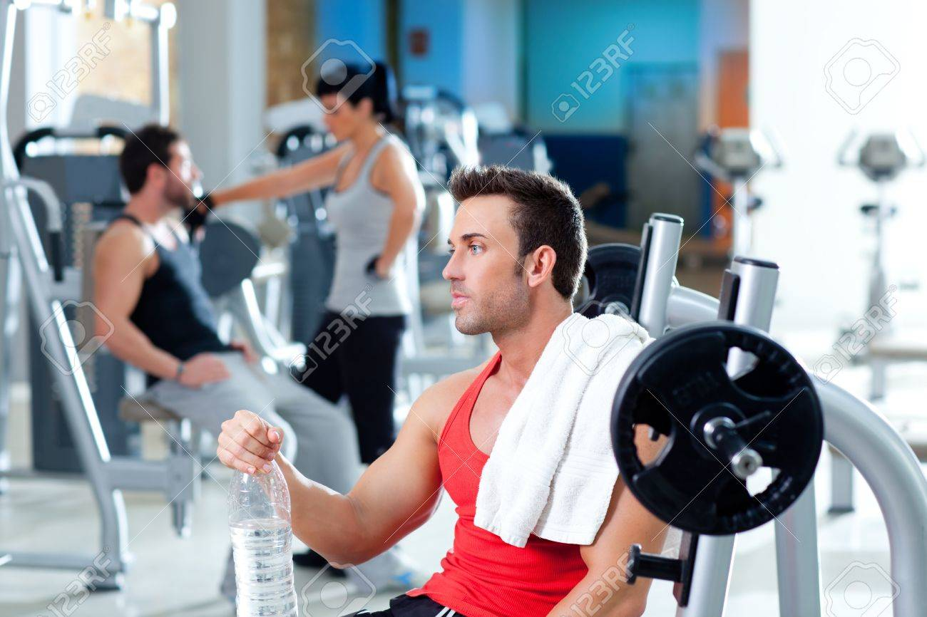man relaxed on gym after fitness sport training with water bottle Stock Photo - 11982267