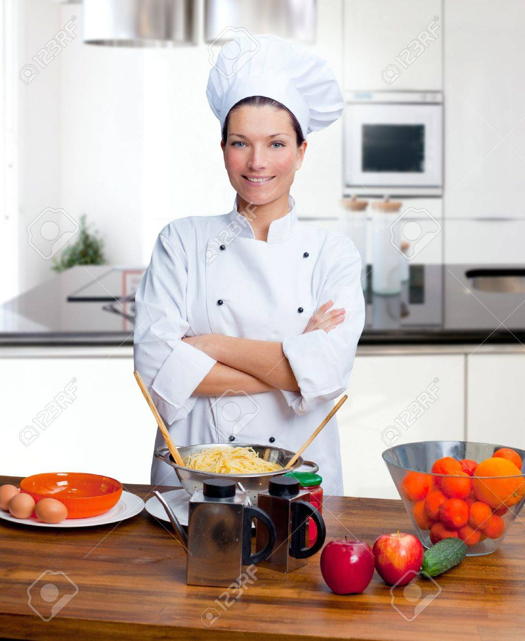 Chef Woman Portrait With White Uniform In The Kitchen Stock Photo ...