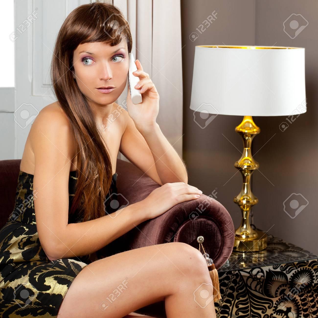 elegance fashion woman talking telephone in living room sofa Stock Photo - 12144753