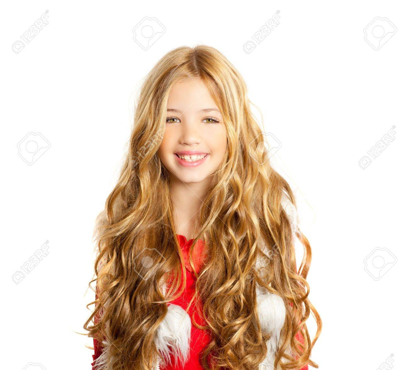 Kid little girl with christmas winter white fur and red shirt Stock Photo - 12148218