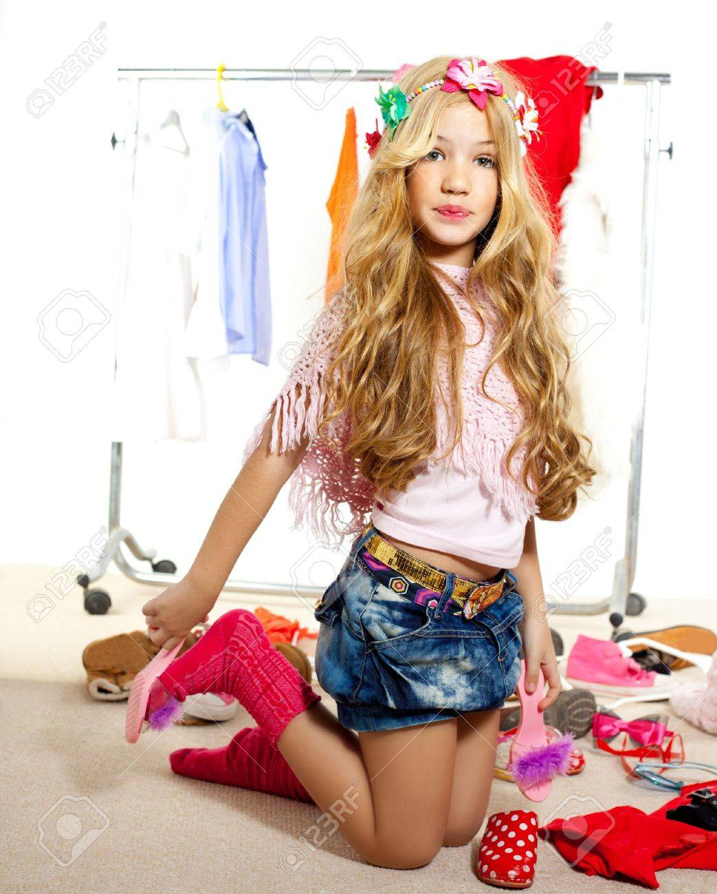 fashion victim kid girl wardrobe messy like backstage model Stock Photo - 12148258
