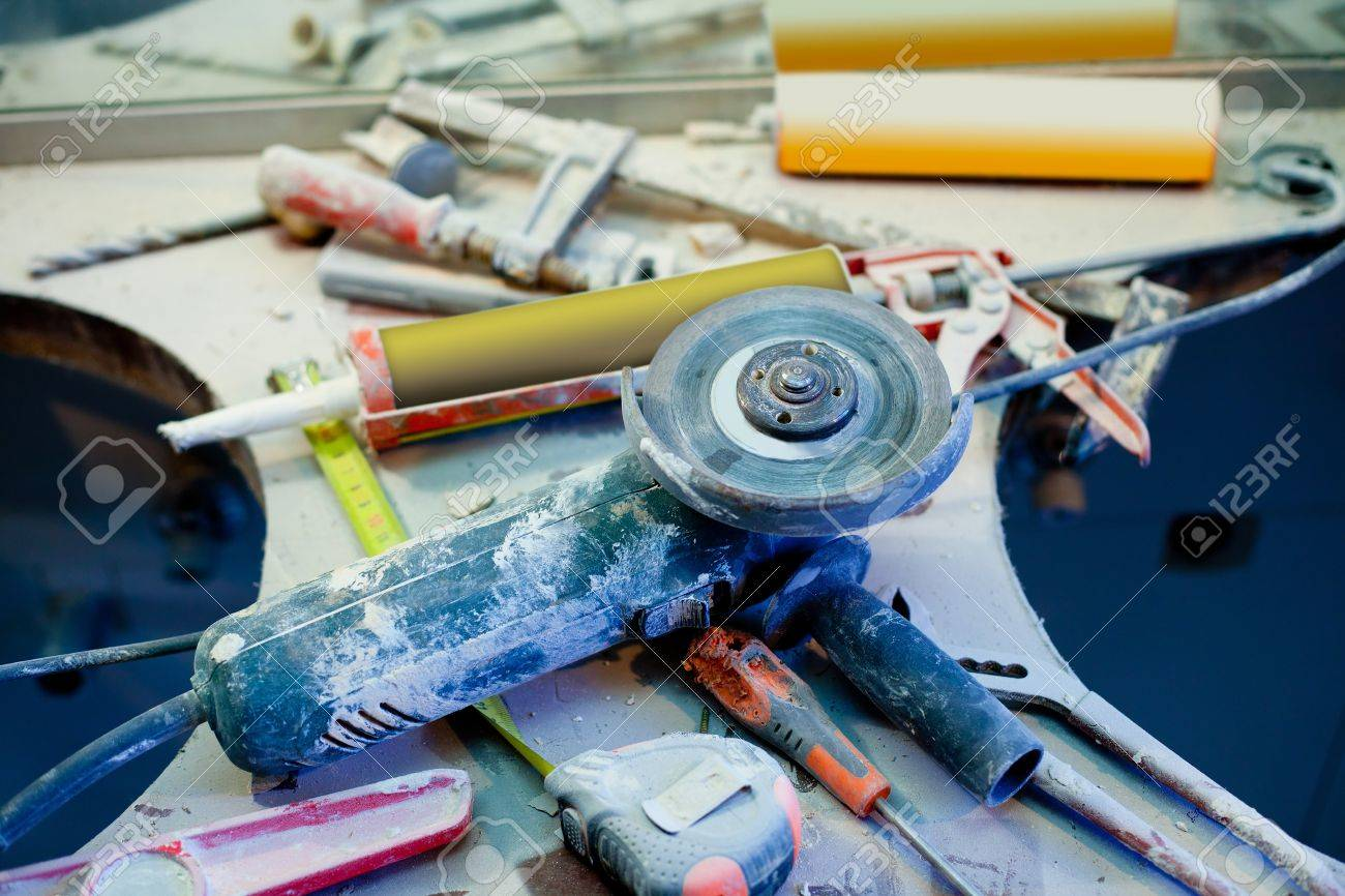 home improvement repair messy clutter with dusted tools handtools Stock Photo - 12382827