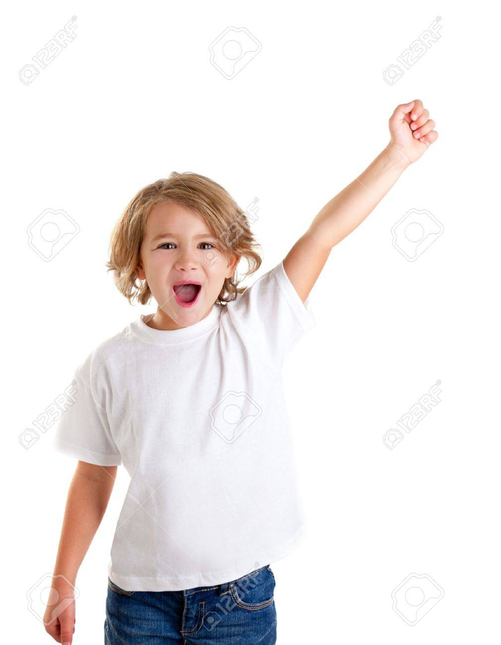 4f9cd3fc16817f Kinderen kind schreeuwen met gelukkige uitdrukking de hand geà ¯ soleerd op wit  Stockfoto - 12382389