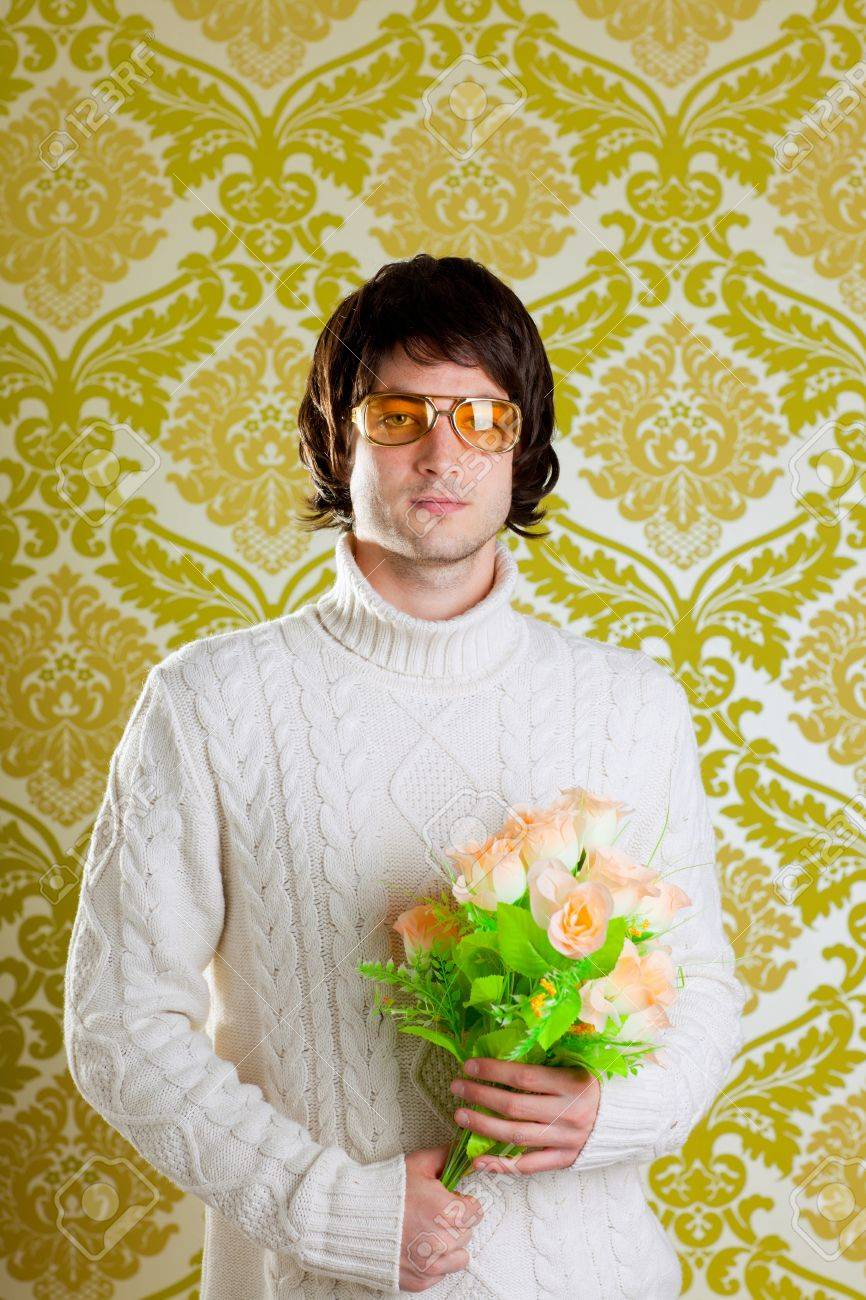 Retro hip young man vintage glasses holding valentines flowers retro hip young man vintage glasses holding valentines flowers bouquet on wallpaper stock photo 13123861 izmirmasajfo Image collections