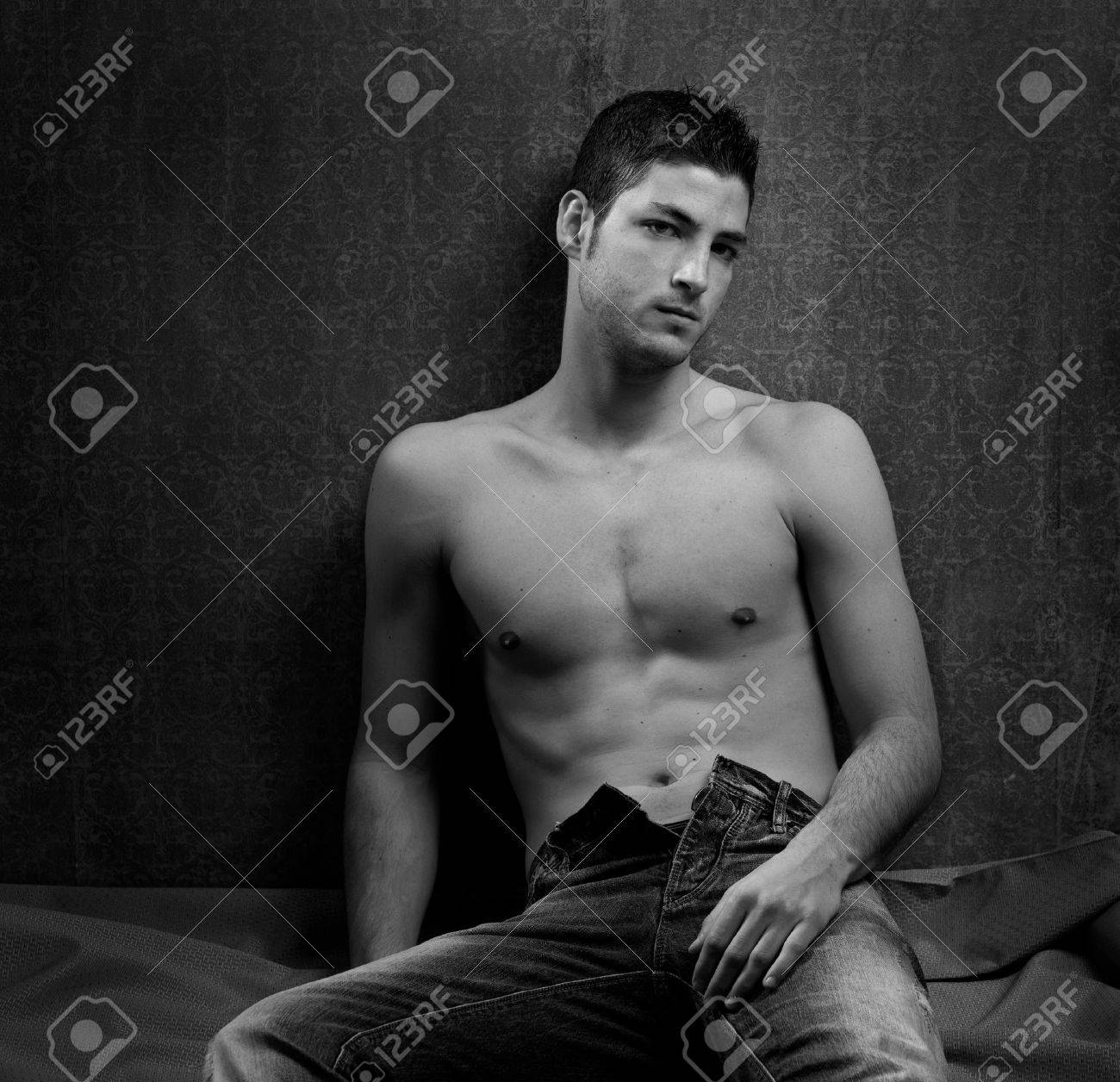 Black and white sexy young shirtless man handsome stock photo 13123505