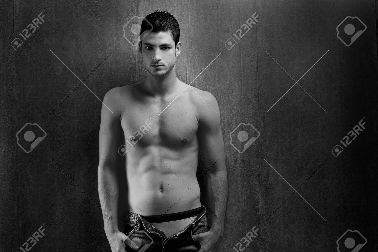 Black and white sexy young denim shirtless man on retro grunge background Stock Photo - 13123753