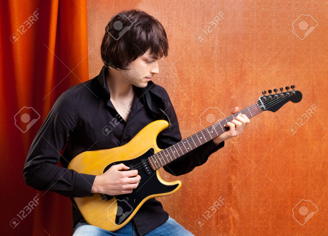 british indie pop rock look young musician guitar player man Stock Photo - 13123413