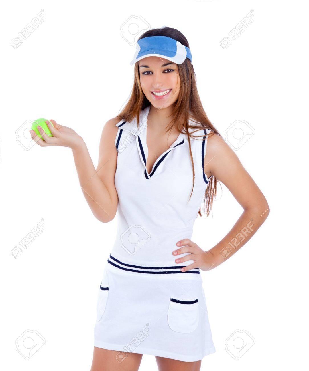 brunette tennis girl with white dress and sun visor cap with green ball  Stock Photo - 85b6199fd9b