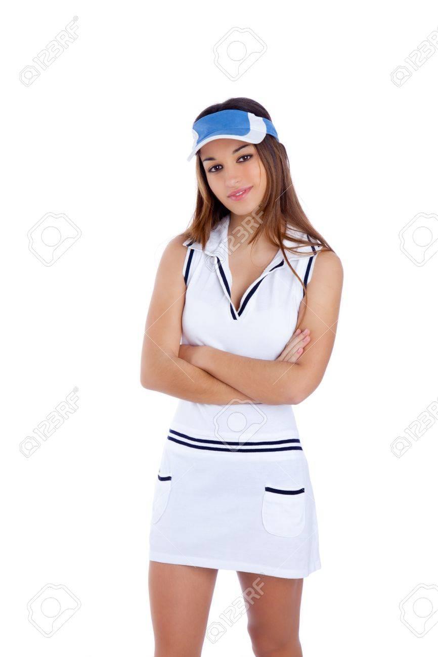 brunette tennis sport girl with white dress and sun visor cap crossed arms  Stock Photo - dd79eb57545