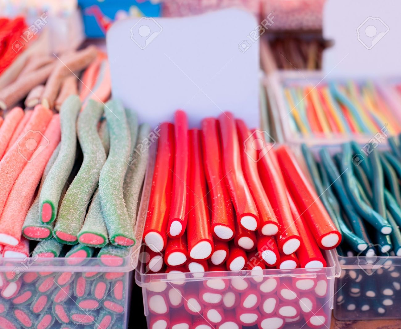 Candy jelly sweets colorful stripes selective focus in center foreground Stock Photo - 13601387