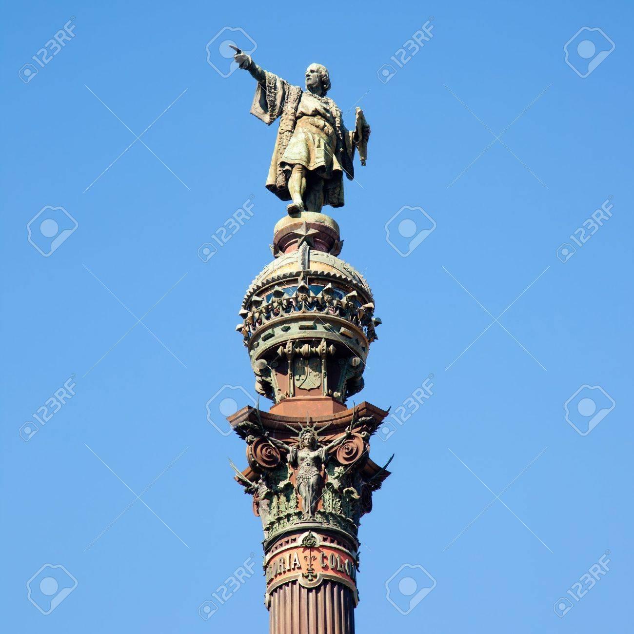 Barcelona Cristobal Colon square statue monument on blue sky Stock Photo - 13872795
