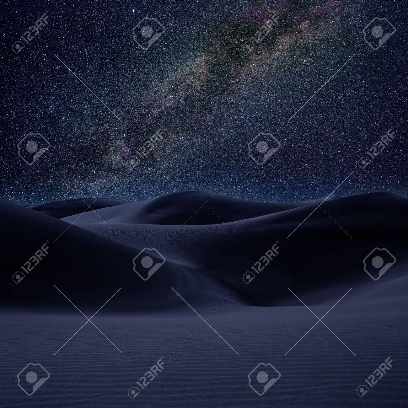 Desert dunes sand in milky way stars night sky photo mount Stock Photo - 15116403