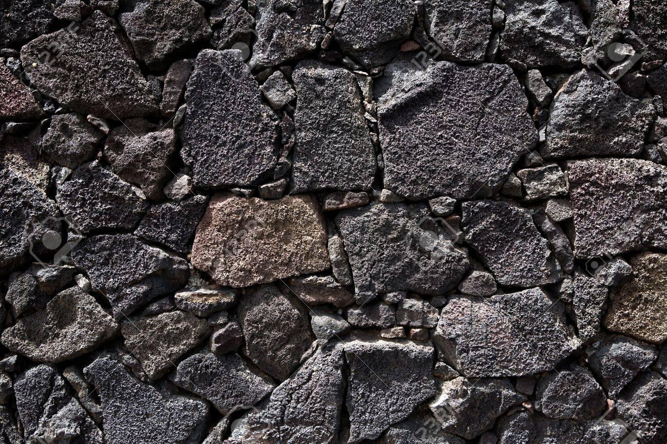 Lanzarote Lava Negro Piedra Muro De Mamposteria En Las Islas - Muro-piedra
