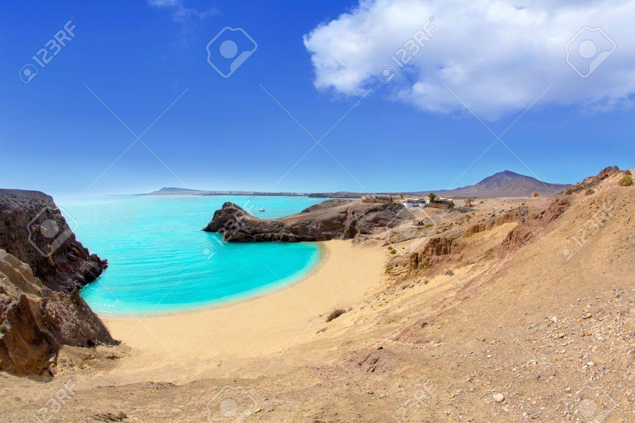 Lanzarote Papagayo turquoise beach and Ajaches in Canary Islands Stock Photo - 15272585