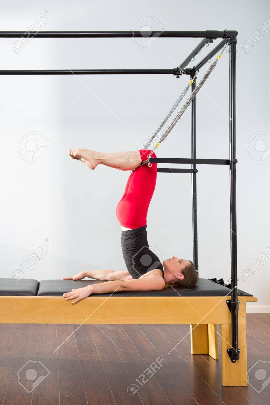 Aerobics pilates instructor woman in cadillac fitness exercise Stock Photo - 15429305