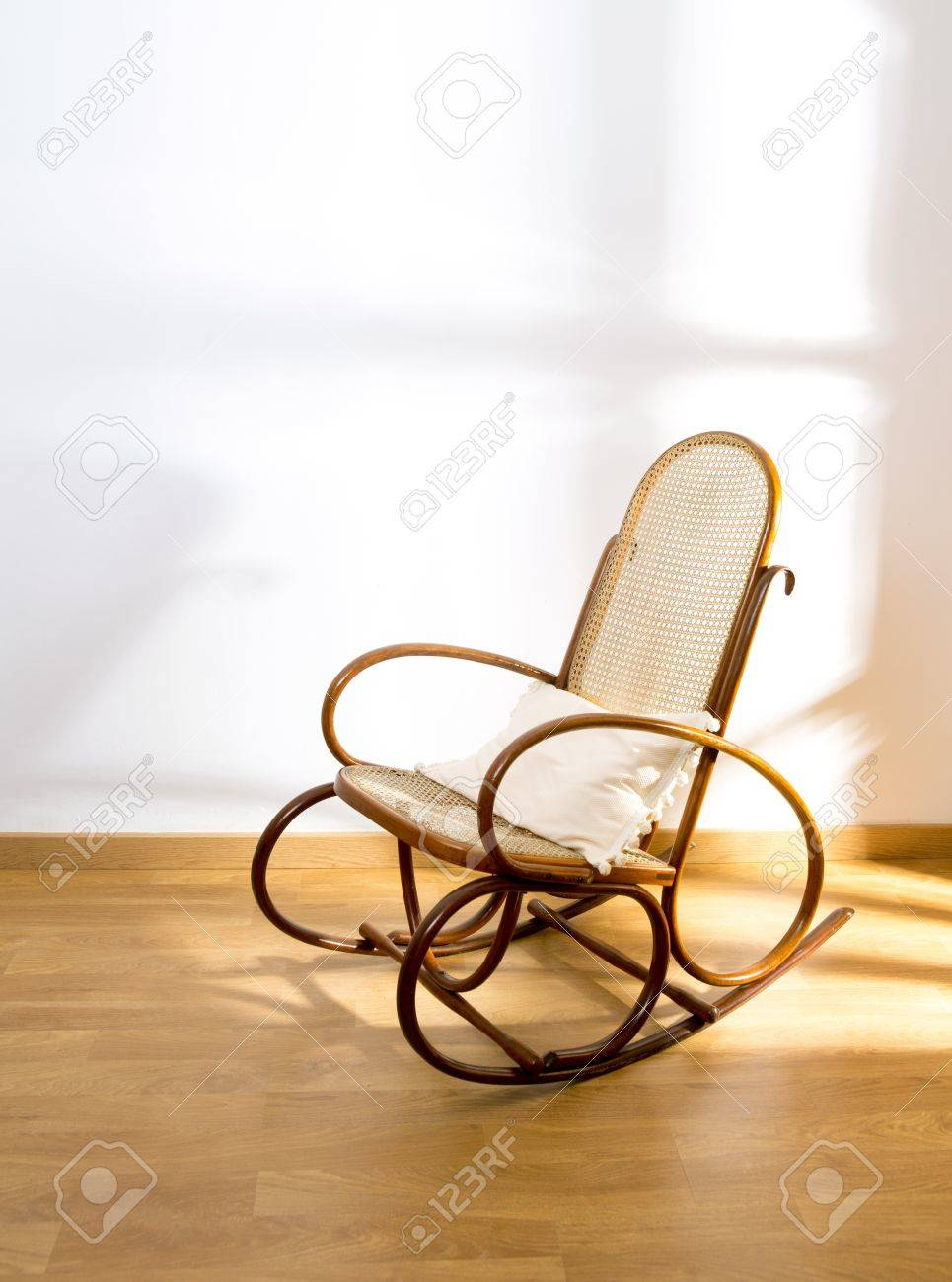 Golden Retro Rocker Wooden Swing Chair On Wood Floor As A Vintage Memories  Stock Photo