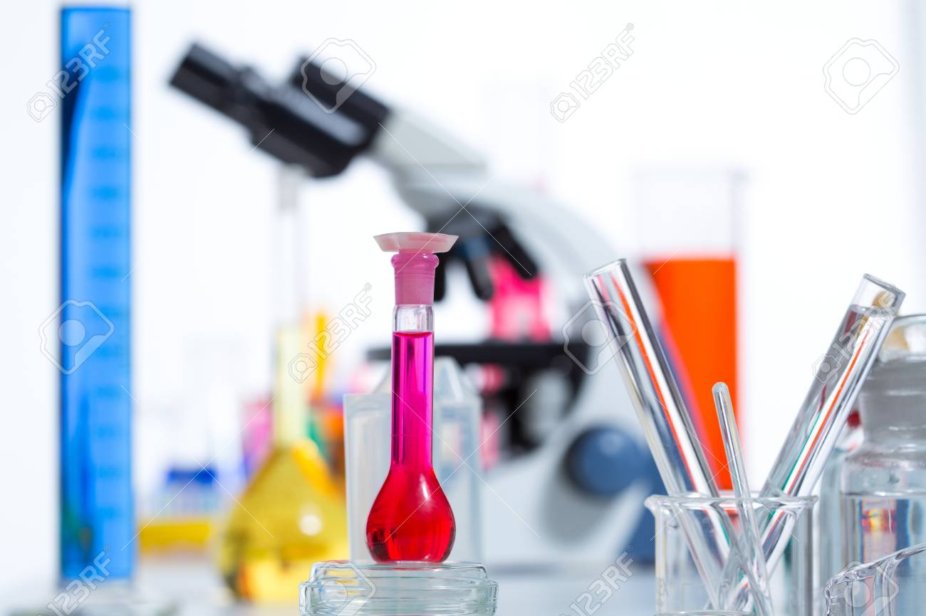 Chemical scientific laboratory stuff microscope test tube flask pipette Stock Photo - 16709131