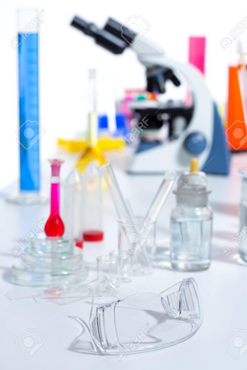Chemical scientific laboratory stuff microscope test tube flask pipette Stock Photo - 16648352