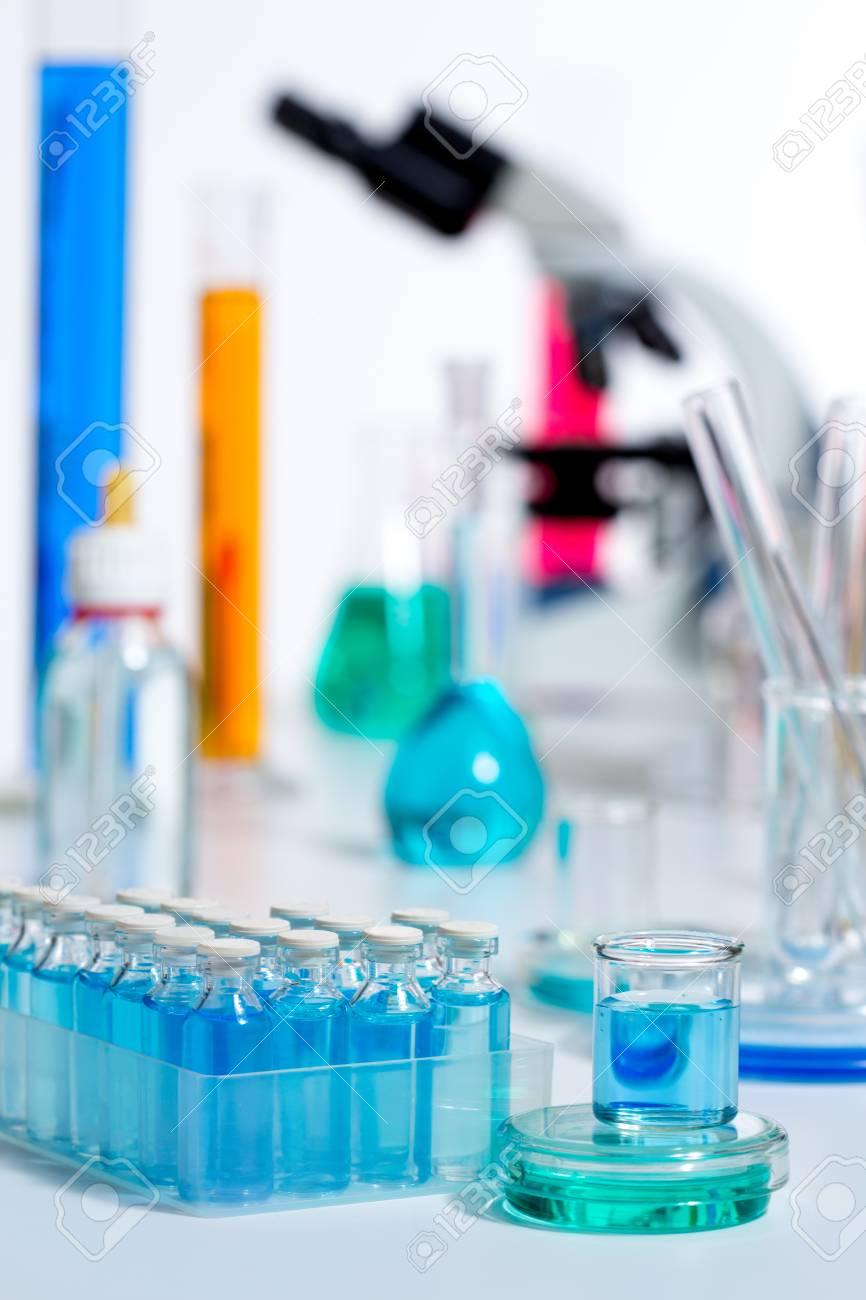 Chemical scientific laboratory stuff microscope test tube flask pipette Stock Photo - 16650657