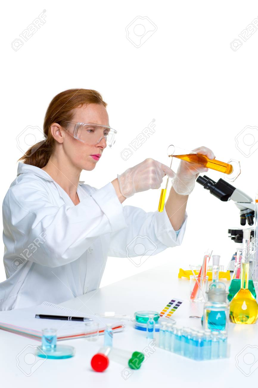 chemical laboratory scientist woman looking at test tube Stock Photo - 16651009